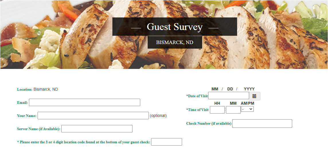 Ground Round Grill and Bar Survey Homepage
