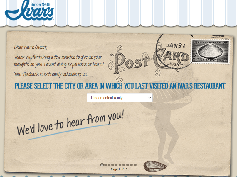 Ivar's Restaurants Survey