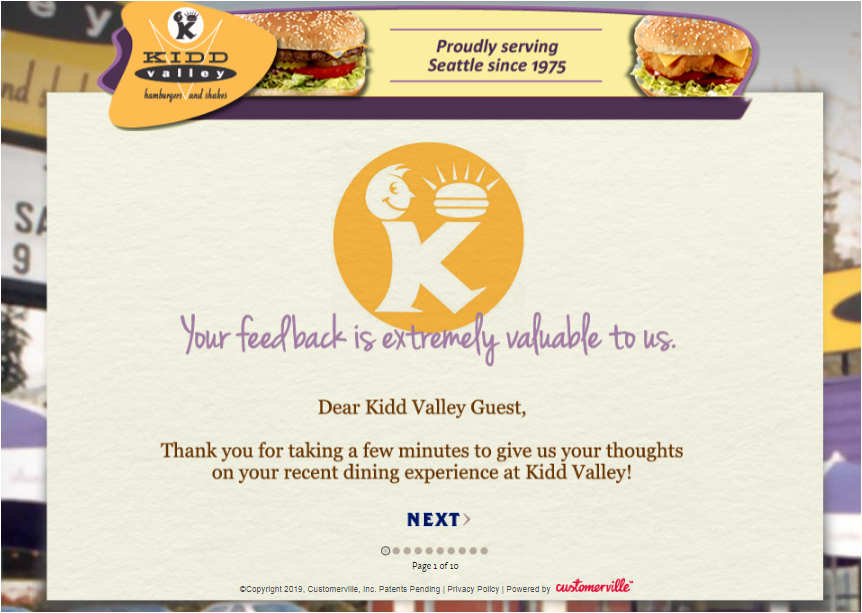 Kidd Valley Guest Experience Survey