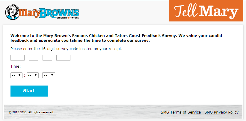 Tell Mary Brown's  Customer Survey