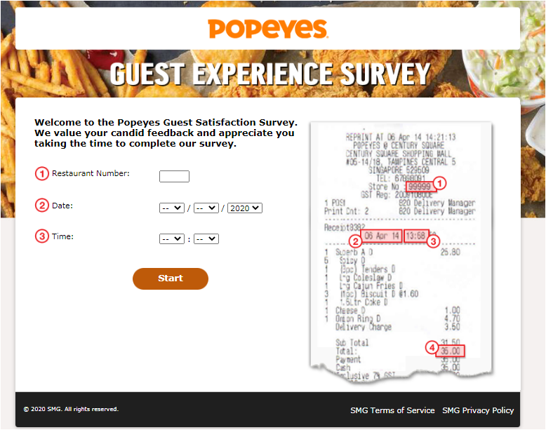 Popeyes Guest Satisfaction Survey Homepage